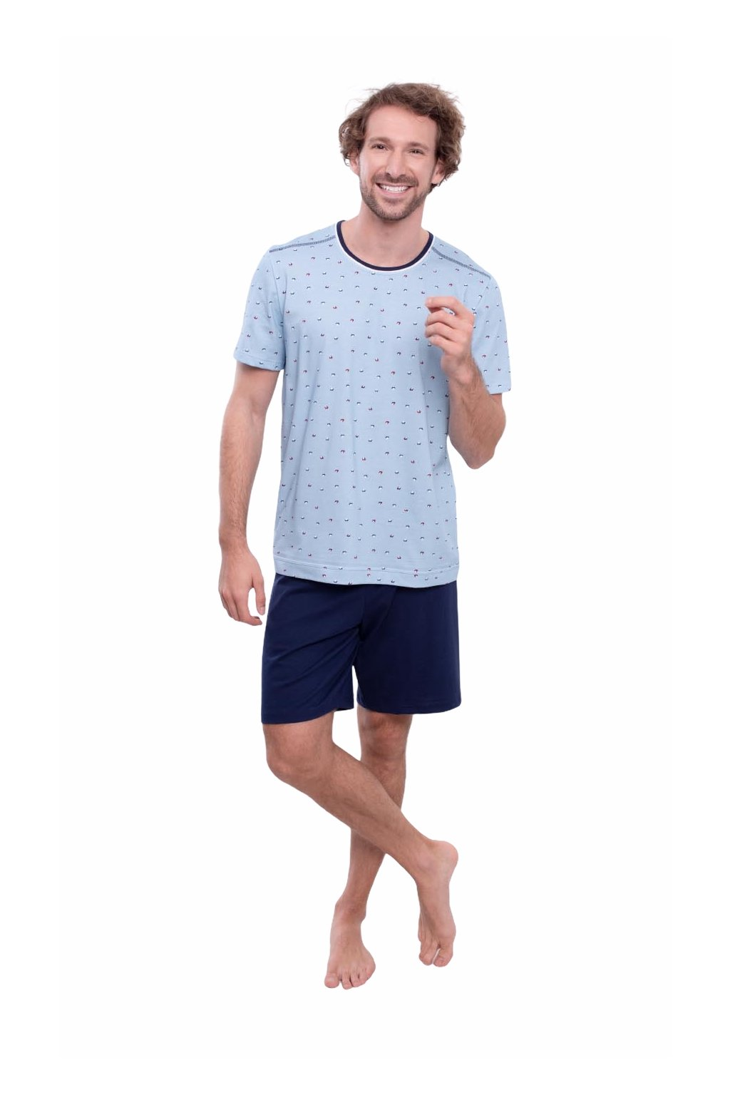 Pánské pyžamo s krátkým rukávem, 204150 58, modrá