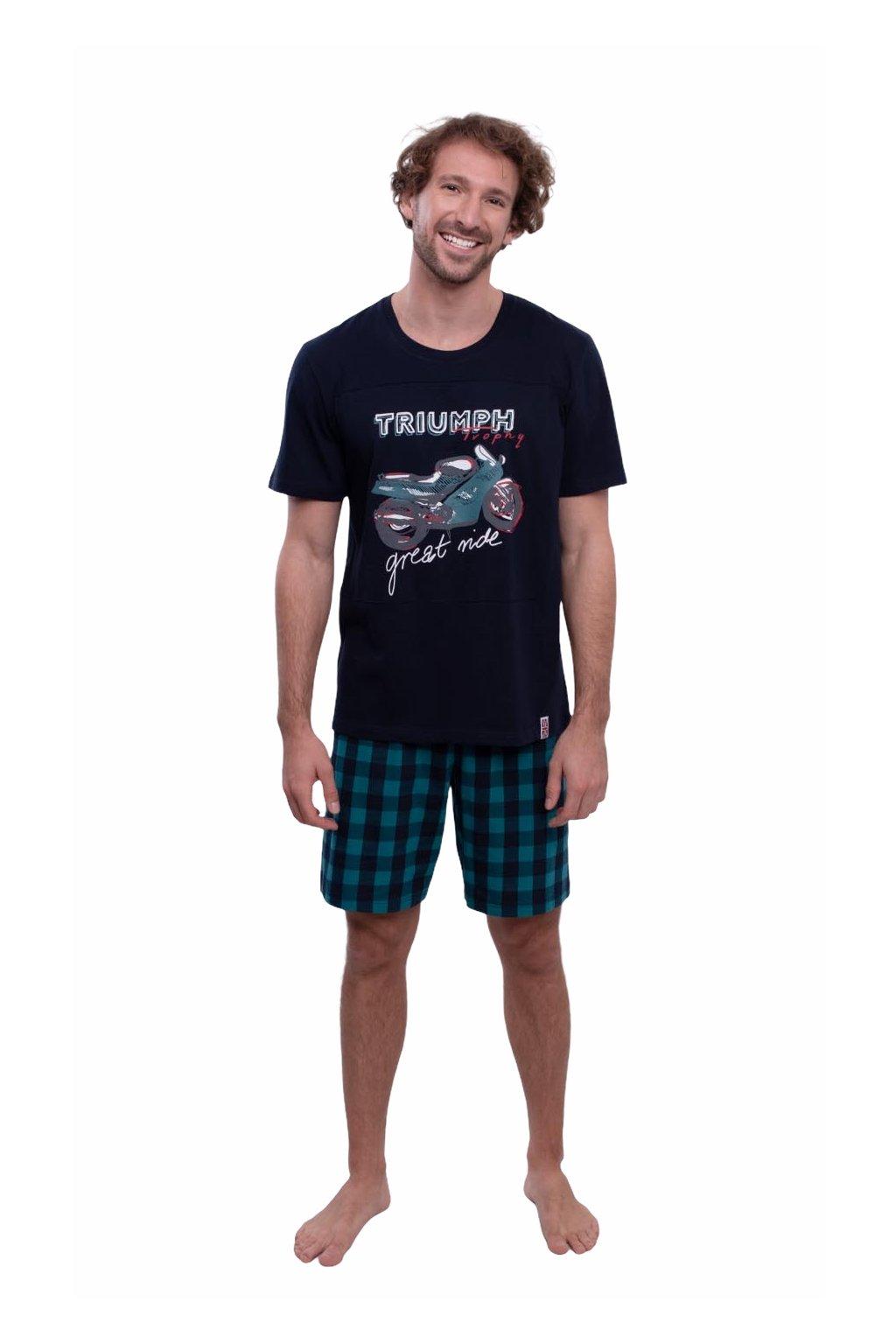 Pánské pyžamo s krátkým rukávem, 204146 101, tmavě modrá