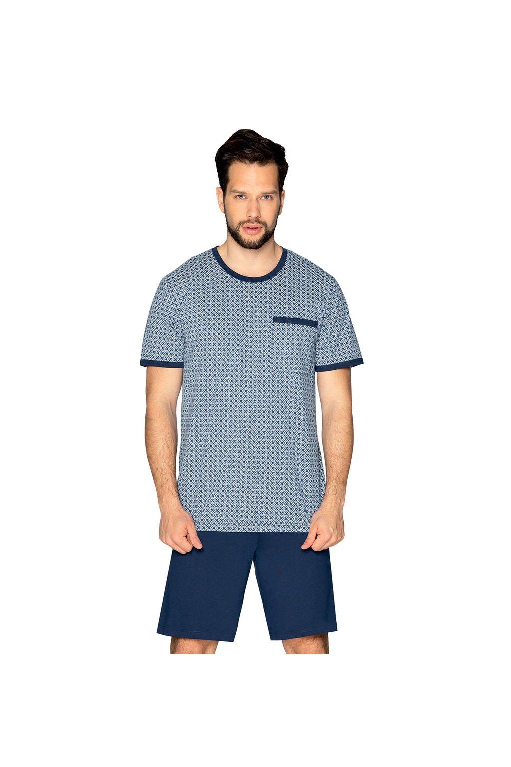 Pánské pyžamo s krátkým rukávem, 204121 208, modrá