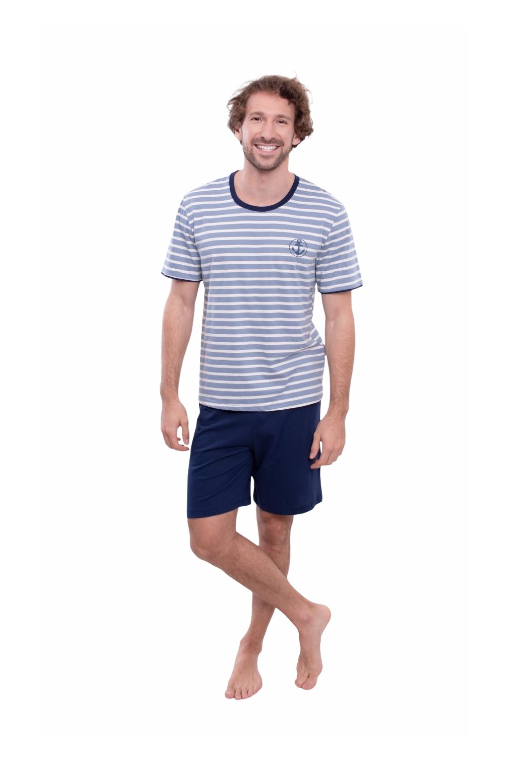 Pánské pyžamo s krátkým rukávem, 204142 472, modrá