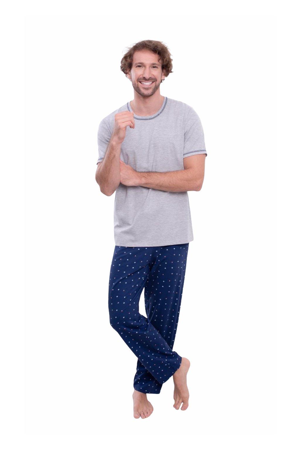 Pánské pyžamo s krátkým rukávem a dlouhými nohavicemi, 204148 30, šedá