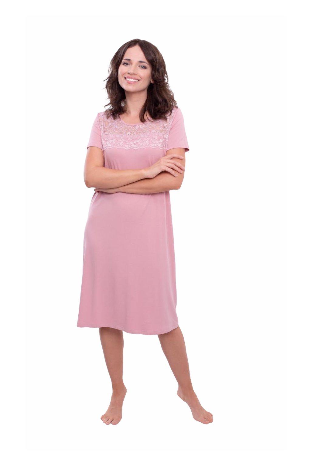 Dámská noční košile s krátkým rukávem, 104562 146, růžová