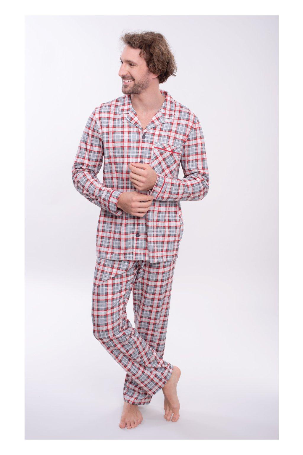 Pánské pyžamo s dlouhým rukávem, 204133 189, červená