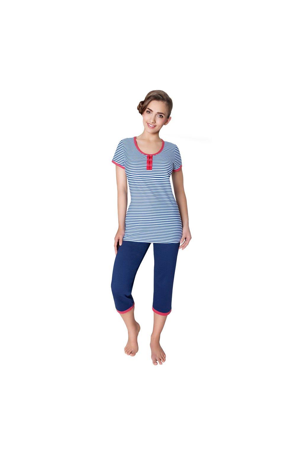 Dámské pyžamo s krátkým rukávem a 3/4 nohavicemi, 104221 658, bílá/modrá