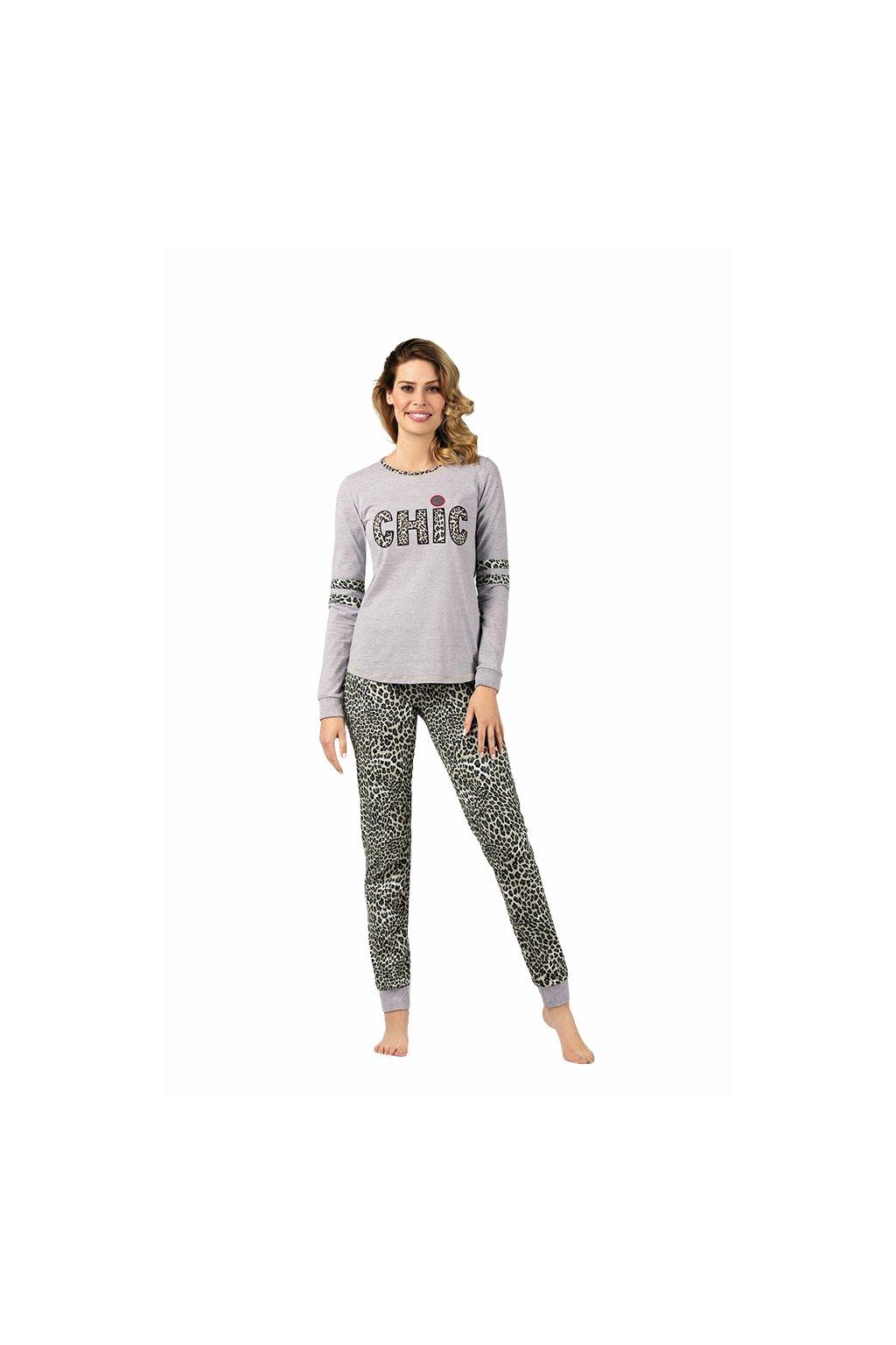 Dámské pyžamo s dlouhým rukávem, 104423 900, šedá
