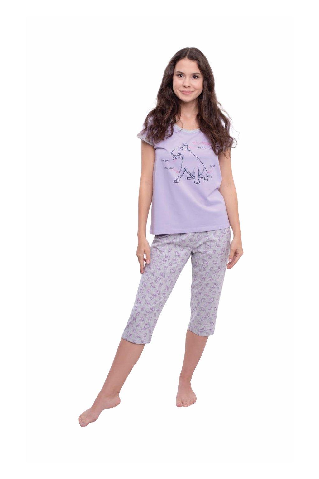 Dámské pyžamo s krátkým rukávem a 3/4 nohavicemi, 104565 12, fialová