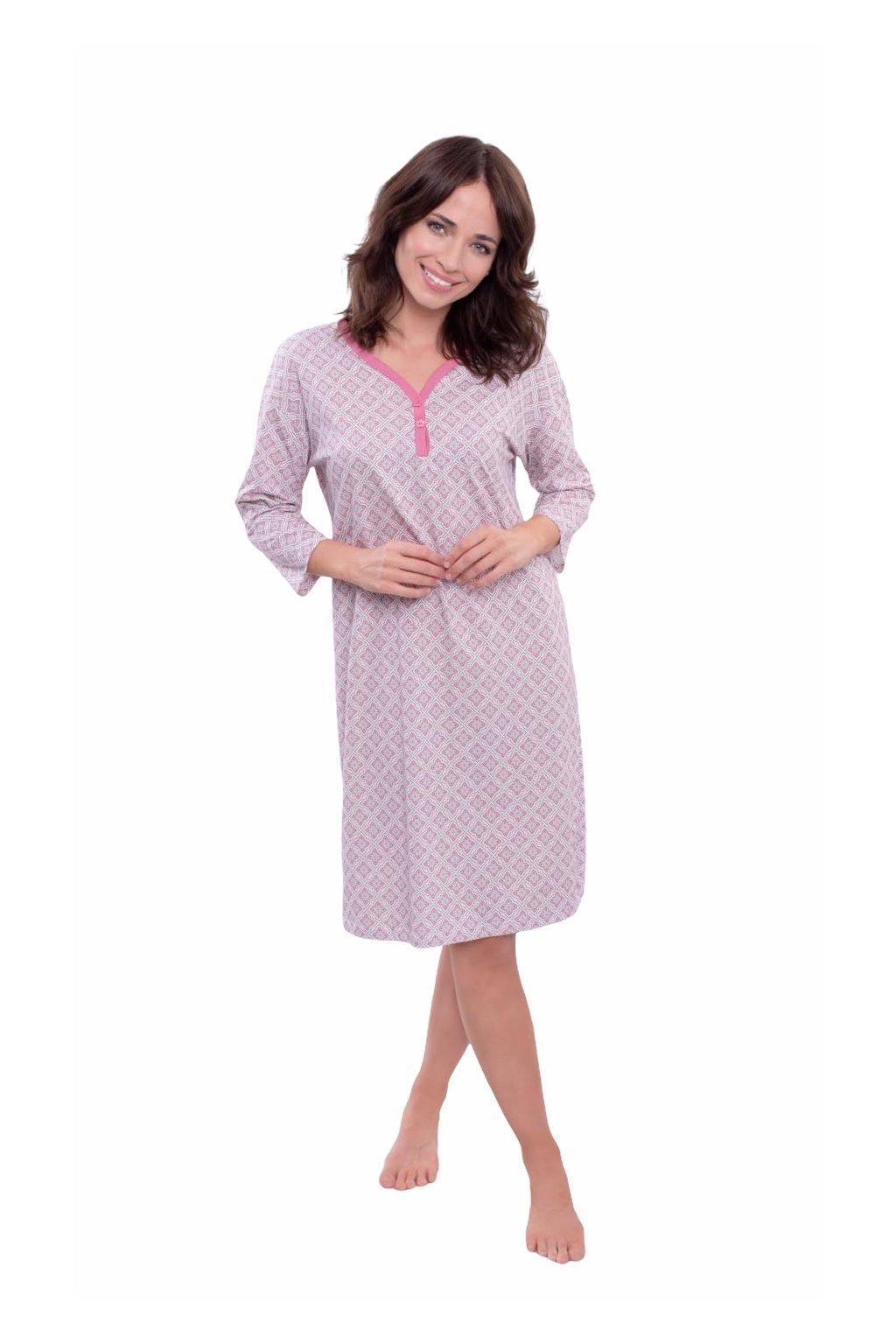Dámská noční košile s 3/4 rukávem, 104568 488, růžová