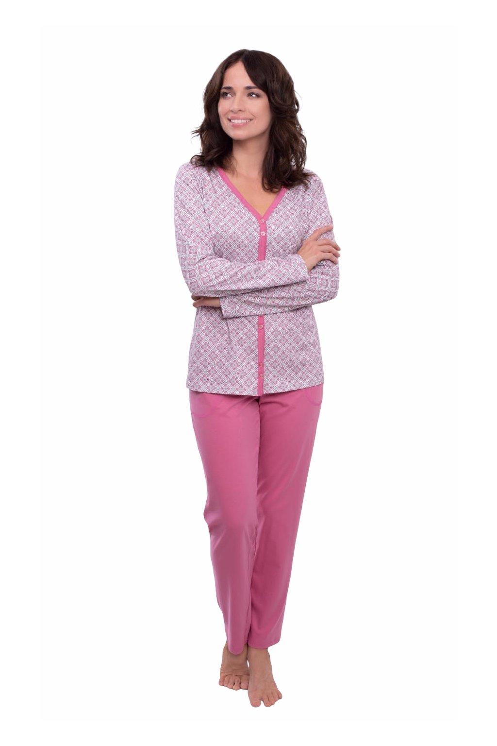 Dámské pyžamo s dlouhým rukávem, 104571 488, růžová
