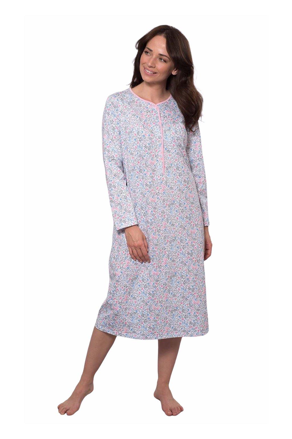 Dámská noční košile s dlouhým rukávem, 104214 242, růžová