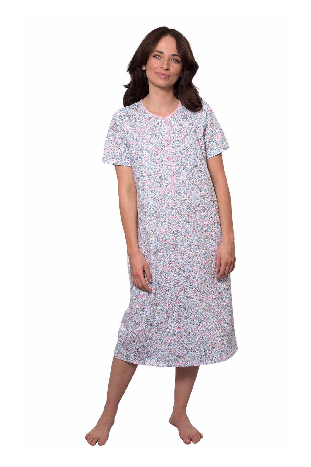 Dámská noční košile s krátkým rukávem, 104232 242, růžová