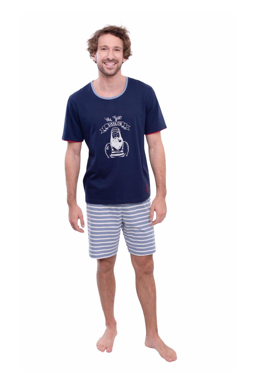 Pánské pyžamo s krátkým rukávem, 204141 28, modrá