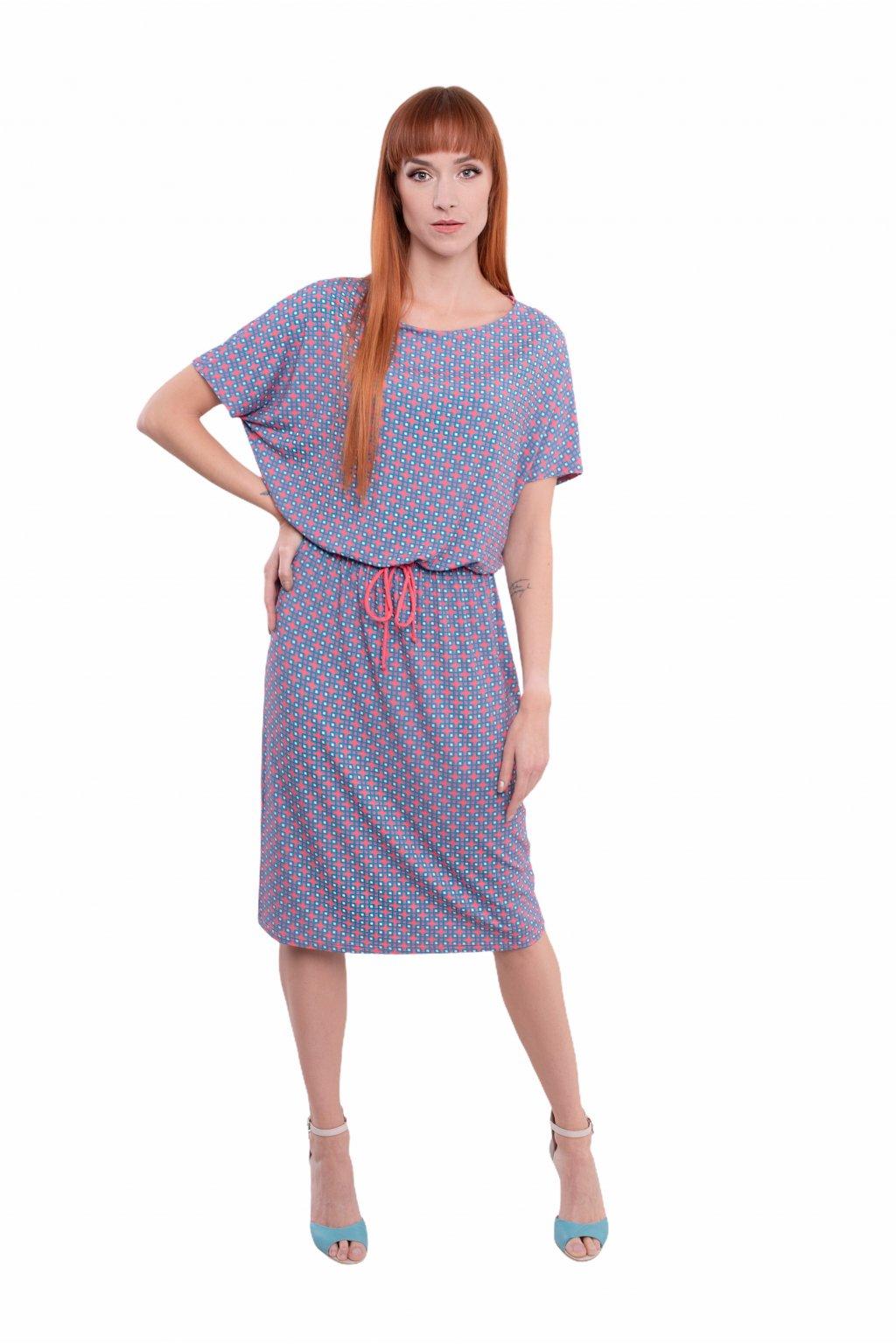 Dámské šaty s krátkým rukávem, 1N502 435, tyrkysovo/korálová