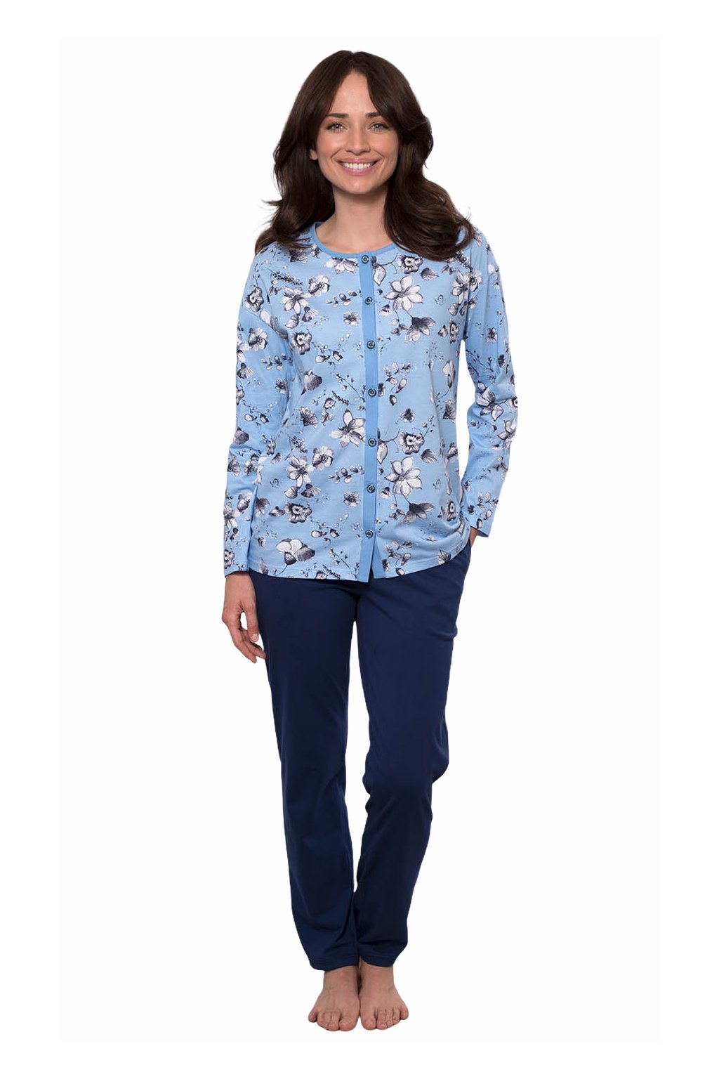 Dámské pyžamo s dlouhým rukávem, 104540 477, modrá