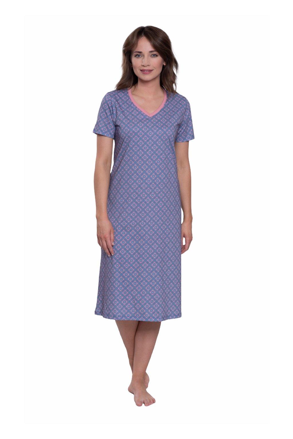 Dámská noční košile s krátkým rukávem, 104572 269, modrá