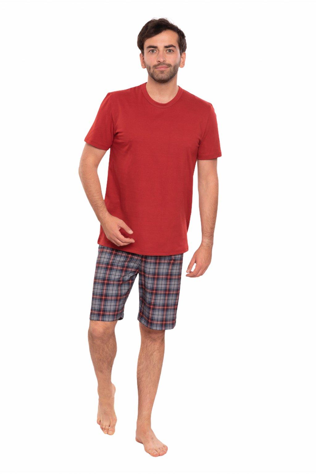 Pánské pyžamo s krátkým rukávem, 204147 145, červená