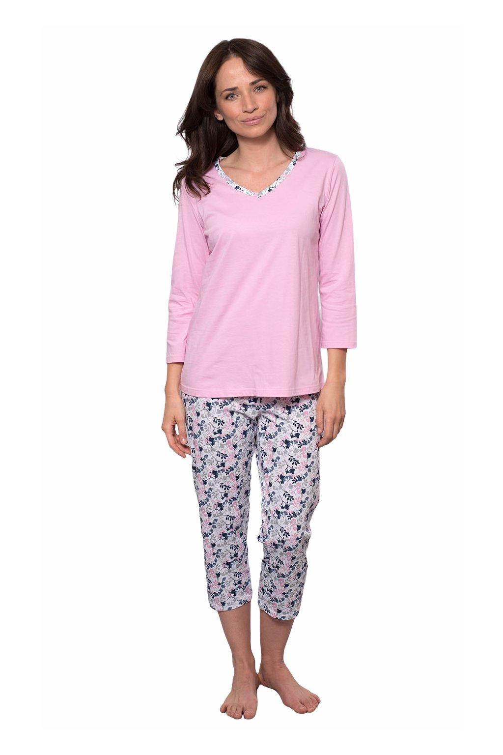 Dámské pyžamo s 3/4 rukávem, 104495 489, růžová