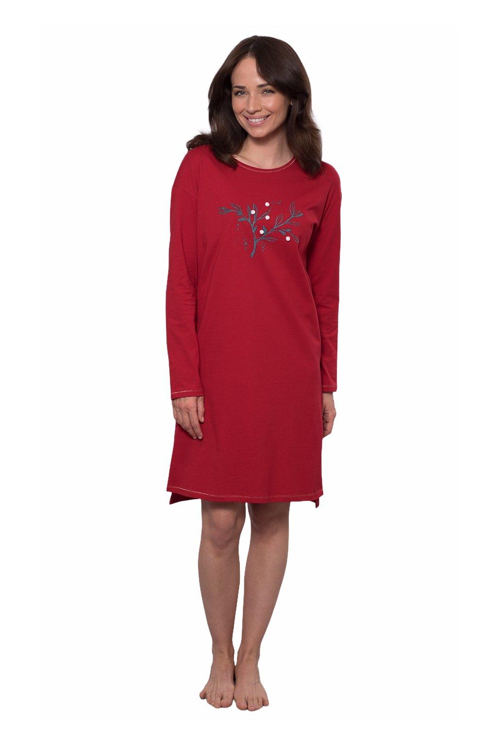 Dámská noční košile s dlouhým rukávem, 104537 293, červená