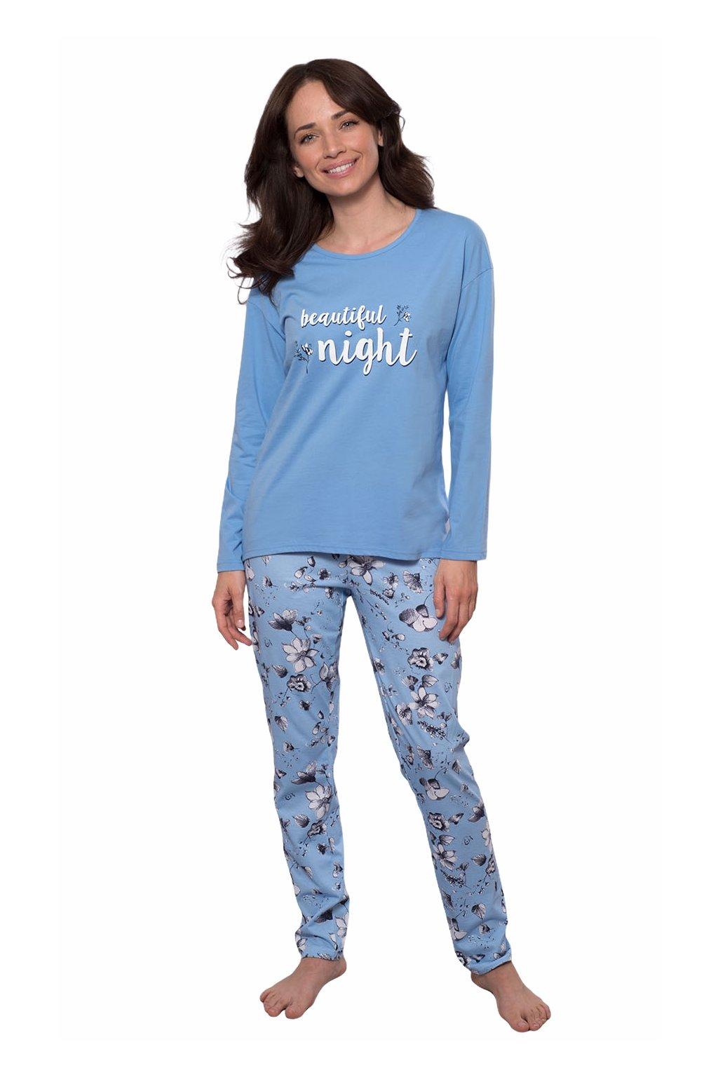 Dámské pyžamo s dlouhým rukávem, 104539 477, modrá