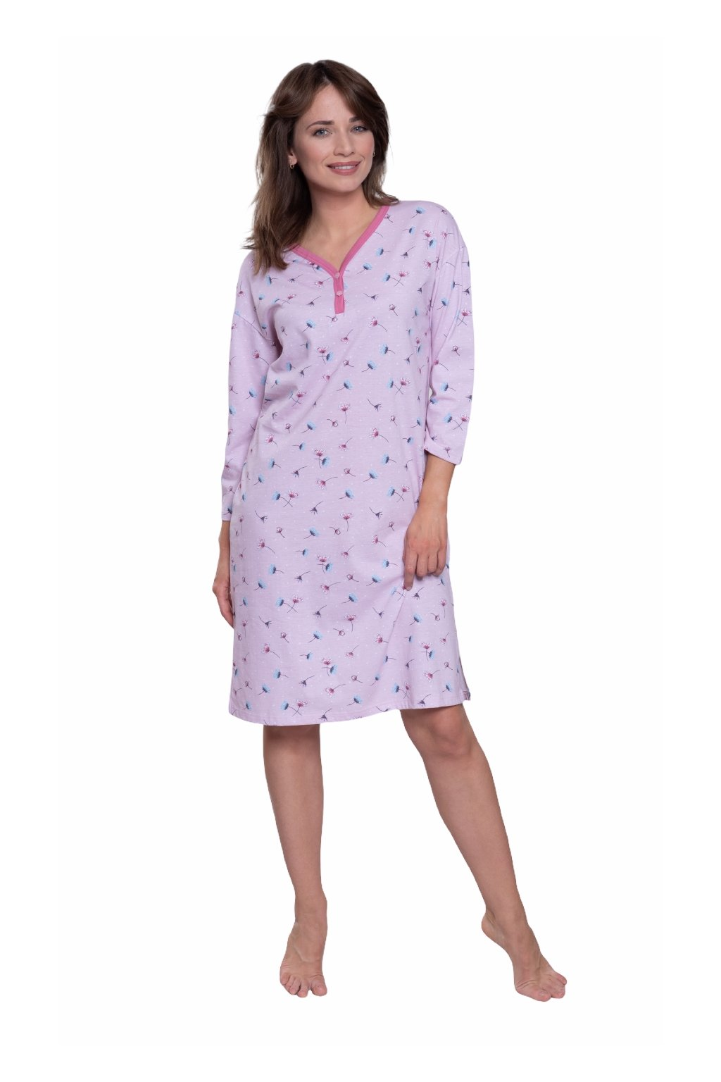 Dámská noční košile s 3/4 rukávem, 104568 225, růžová