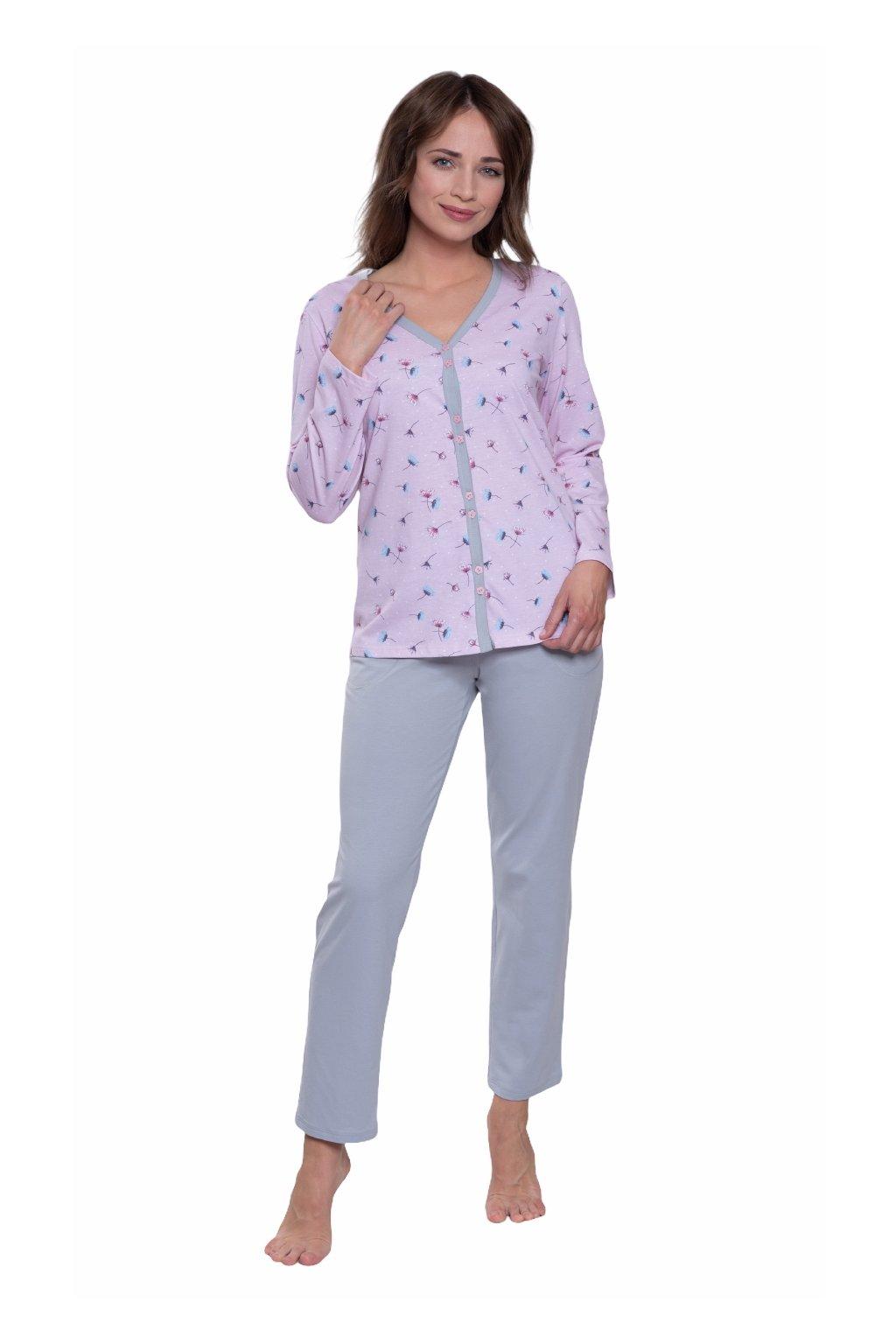 Dámské pyžamo s dlouhým rukávem, 104571 225, růžová