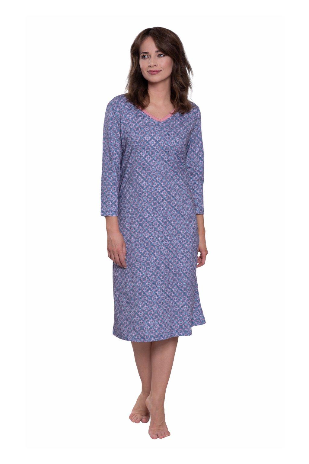 Dámská noční košile s 3/4 rukávem, 104573 269, modrá