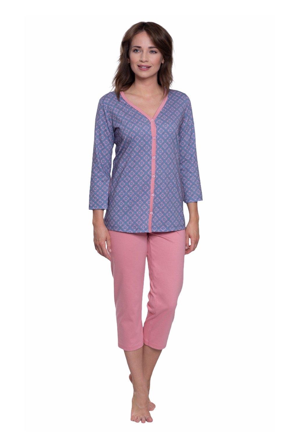 Dámské pyžamo s 3/4 rukávem, 104575 269, modrá