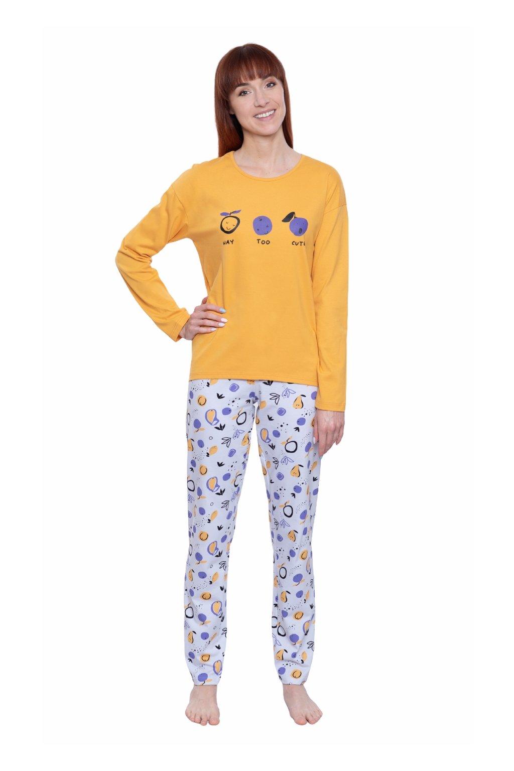 Dámské pyžamo s dlouhým rukávem, 104585 272, žlutá