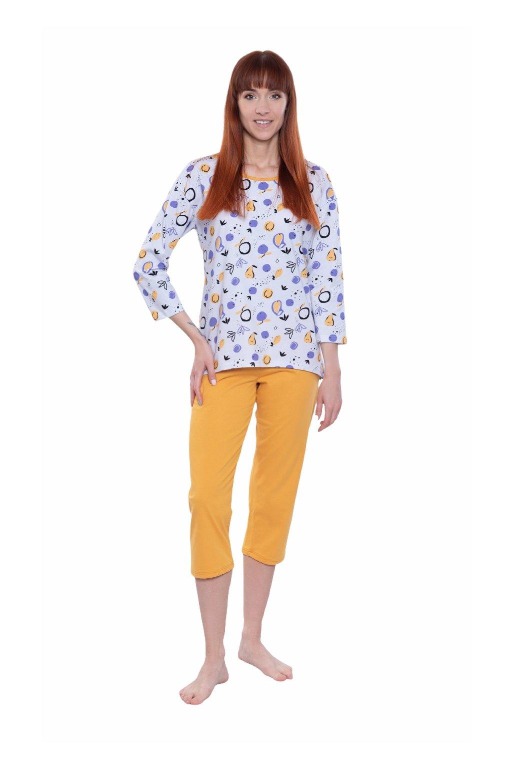 Dámské pyžamo s 3/4 rukávem, 104586 272, žlutá