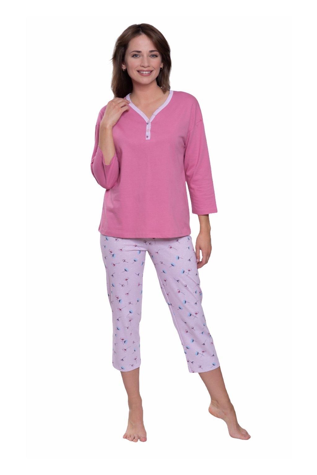 Dámské pyžamo s 3/4 rukávem, 104595 488, růžová