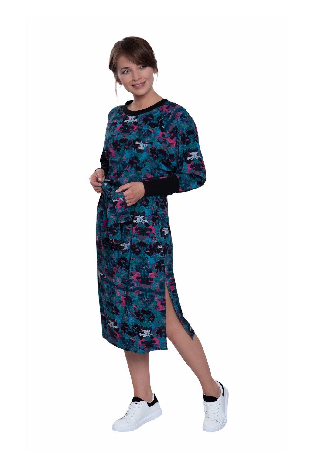 Dámské šaty s dlouhým rukávem, 105143 496, modrá