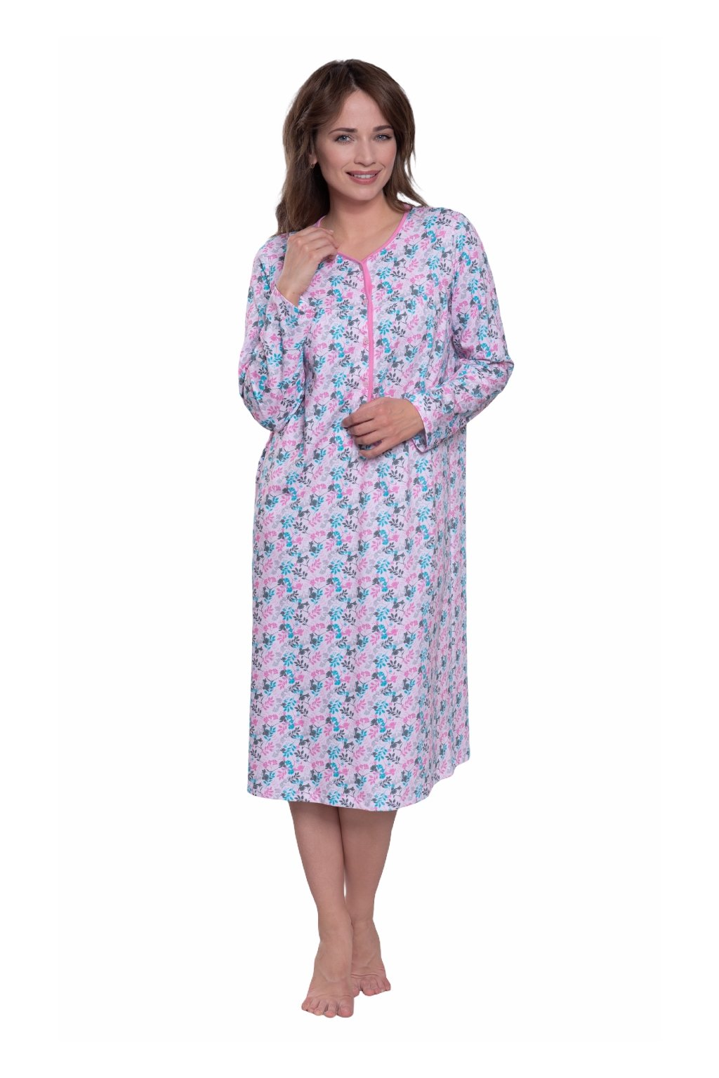 Dámská noční košile s dlouhým rukávem, 104214 149, růžová
