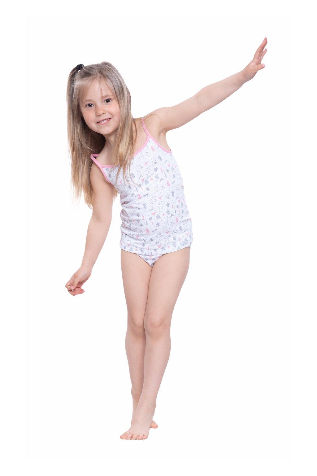 Dívčí košilka s úzkými ramínky, 40259 199, růžová