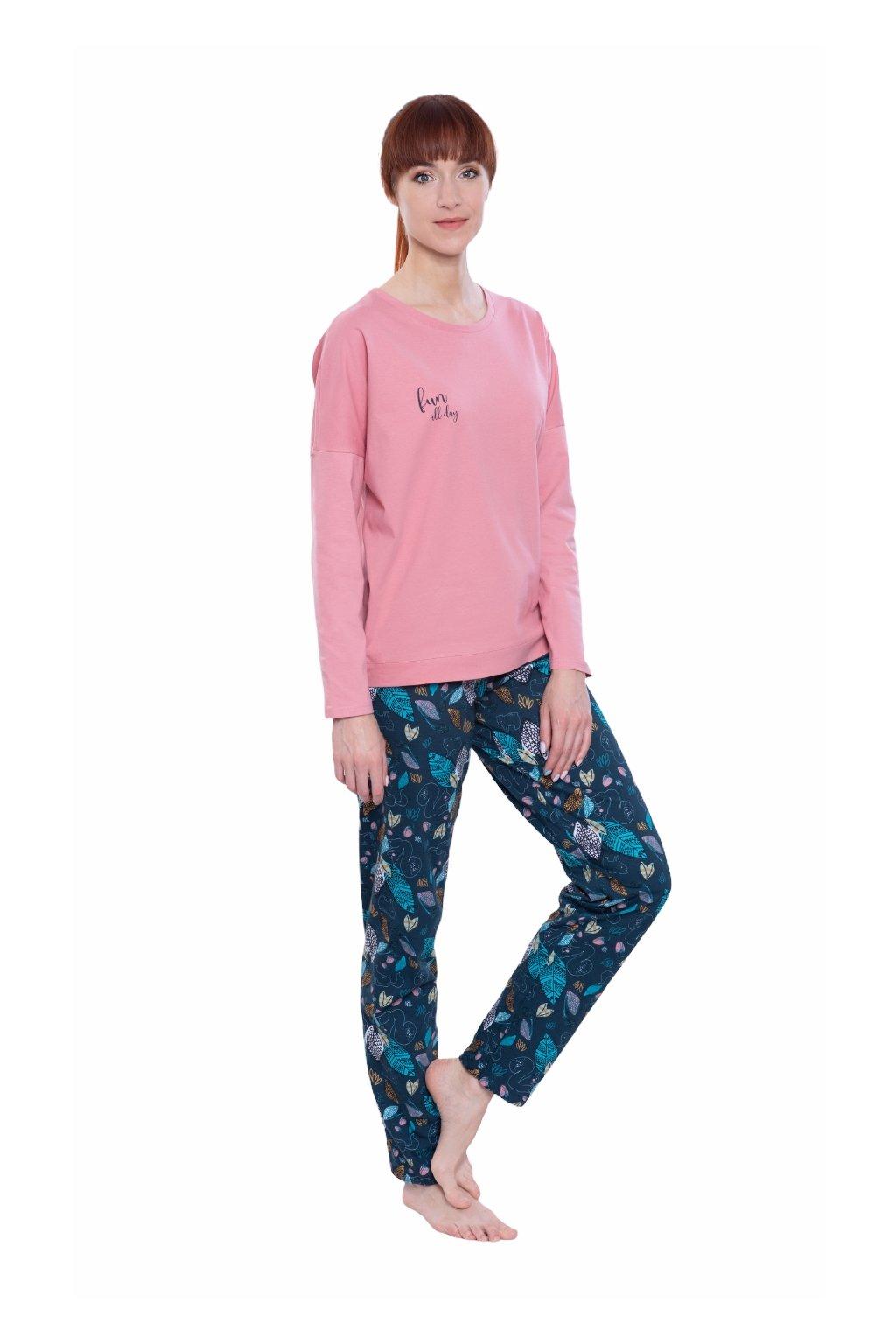 Dámské pyžamo s dlouhým rukávem, 104587 62, růžová