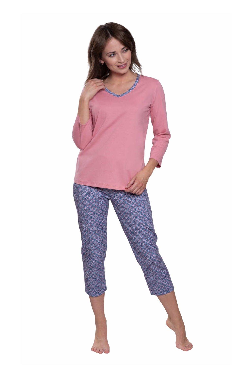 Dámské pyžamo s 3/4 rukávem, 104574 62, růžová
