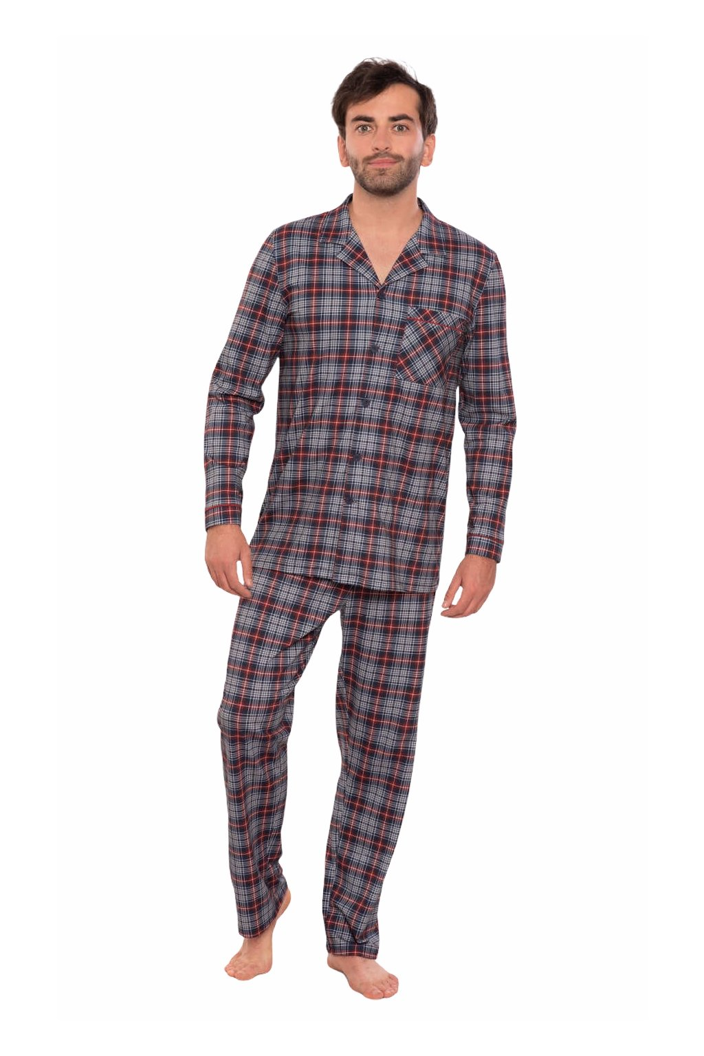 Pánské pyžamo s dlouhým rukávem, 204133 28, modrá