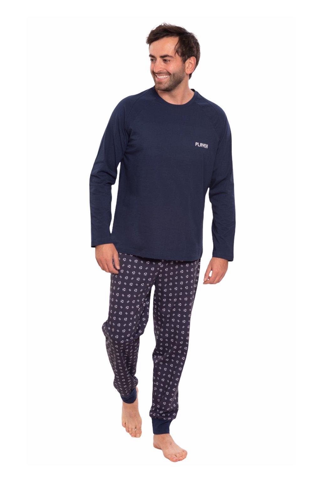 Pánské pyžamo s dlouhým rukávem, 204156 28, modrá