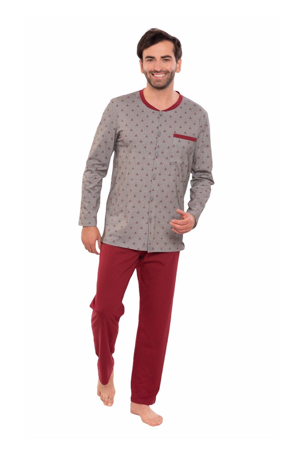 Pánské pyžamo s dlouhým rukávem, 204140 492, červená