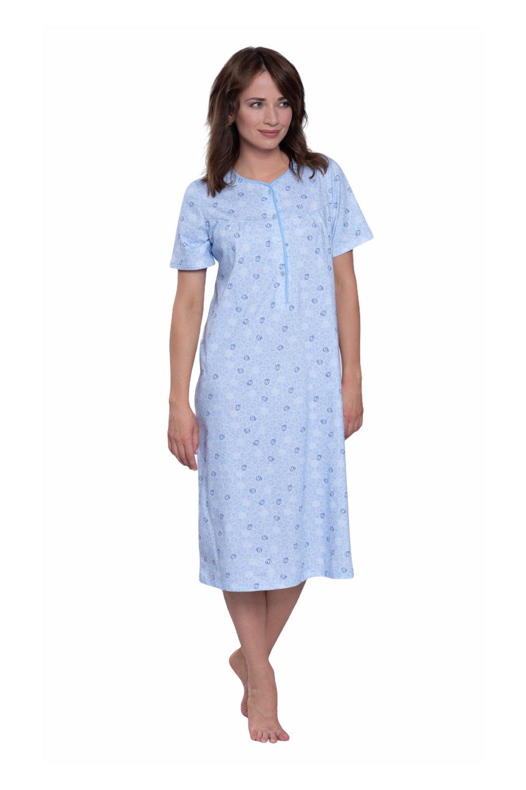 Dámská noční košile s krátkým rukávem, 104232 498, modrá
