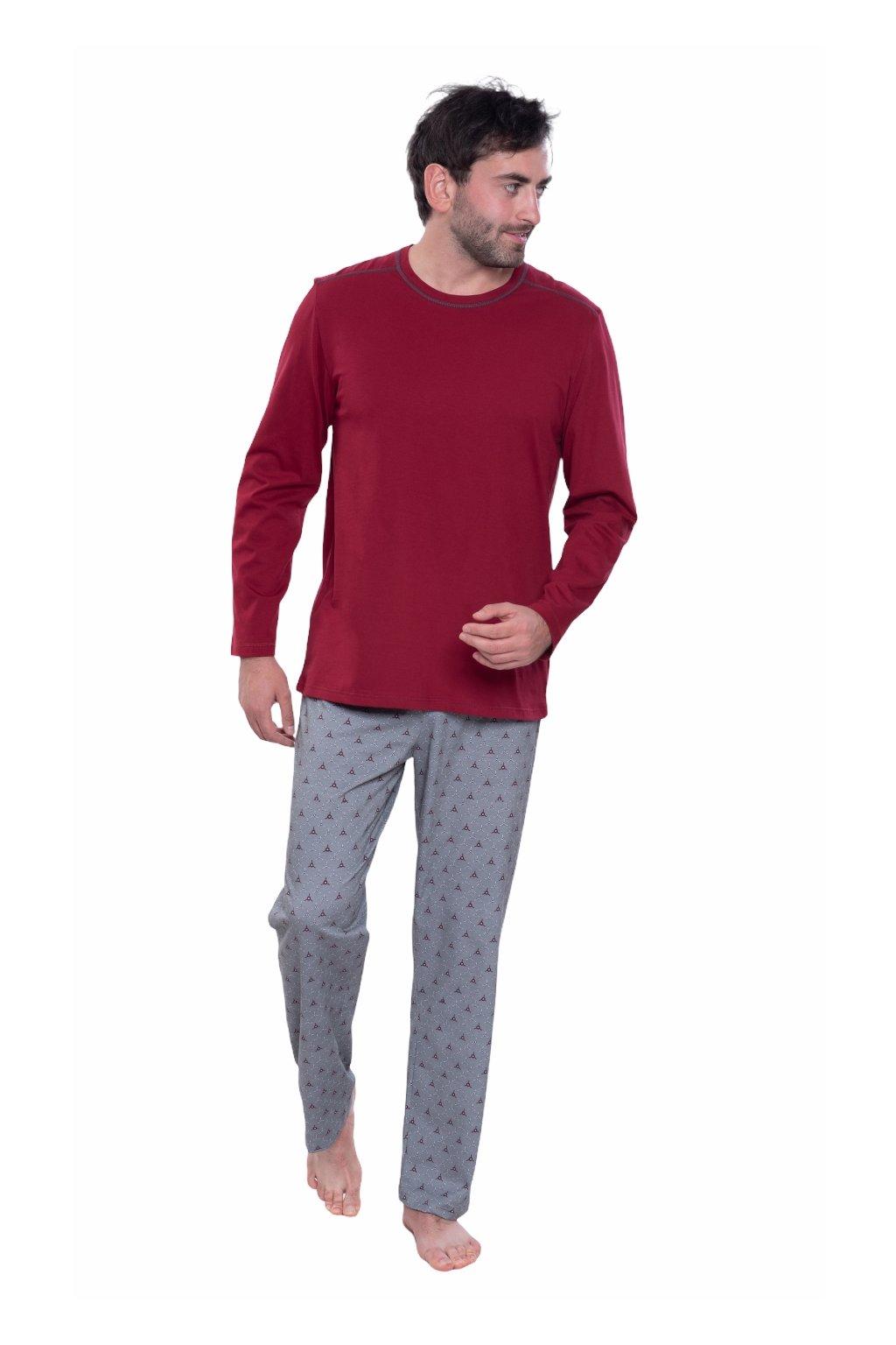 Pánské pyžamo s dlouhým rukávem, 204152 492, červená