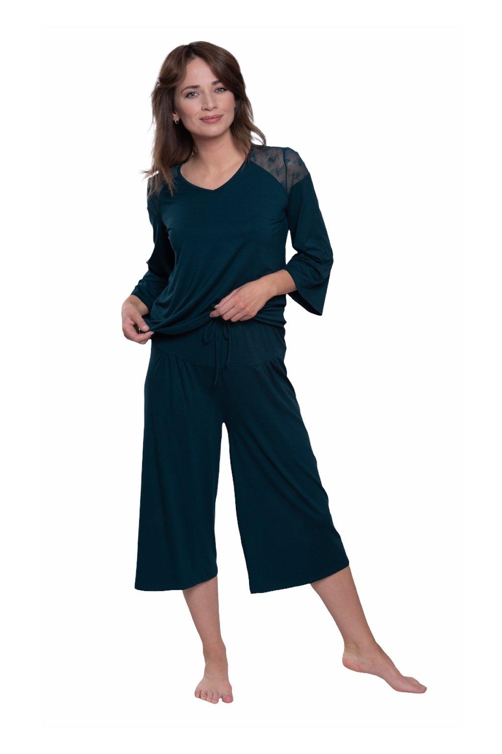 Dámské pyžamo s 3/4 rukávem, 104581 205, zelená