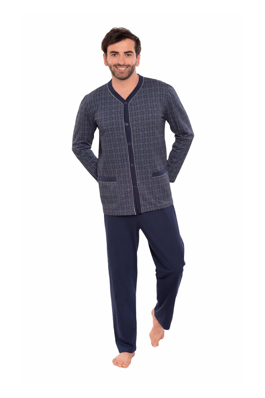 Pánské pyžamo s dlouhým rukávem, 204135 425, modrá