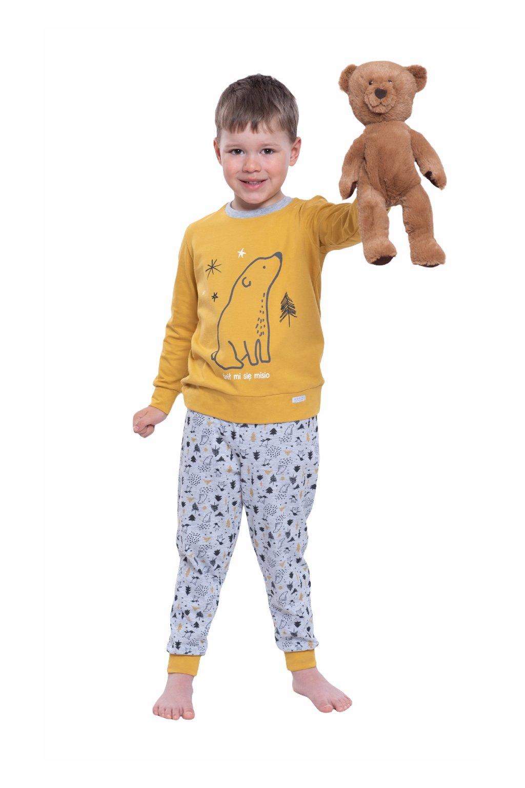 Chlapecké pyžamo s dlouhým rukávem, 504108 48, hořčicová