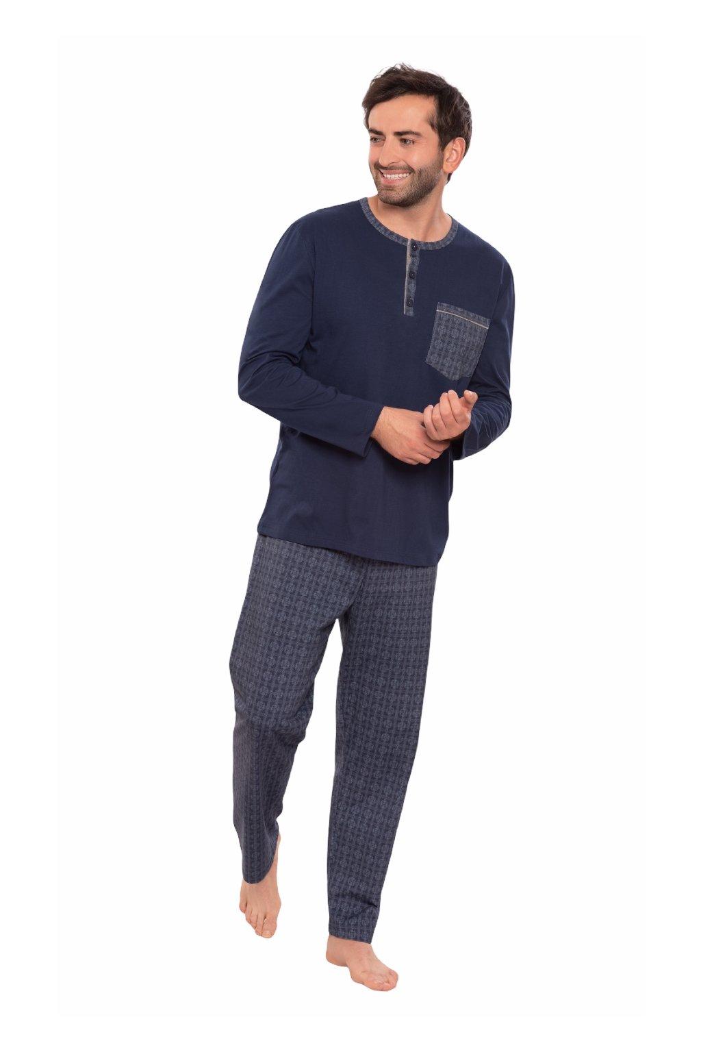 Pánské pyžamo s dlouhým rukávem, 204134 425, modrá