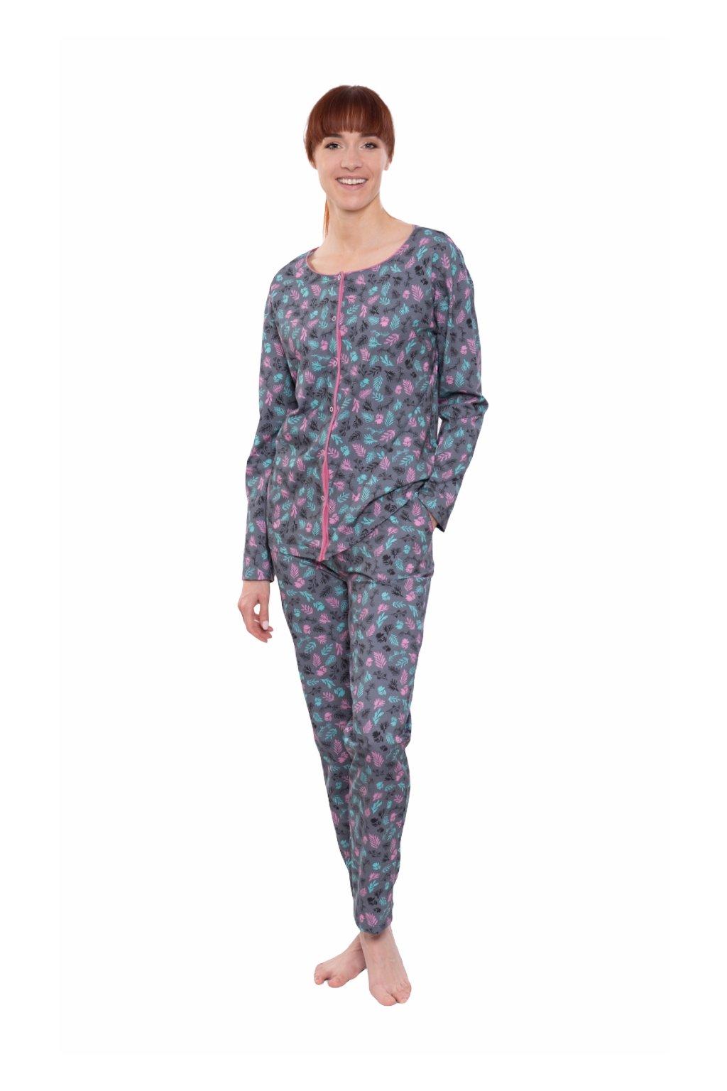 Dámské pyžamo s dlouhým rukávem, 104591 295, grafitová