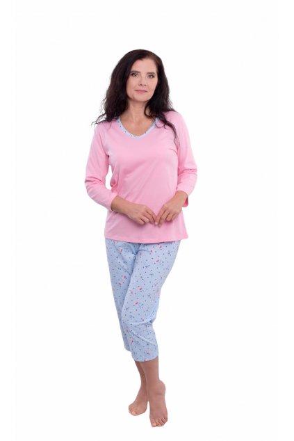 Dámské pyžamo s 3/4 rukávem, 104574 199, růžová