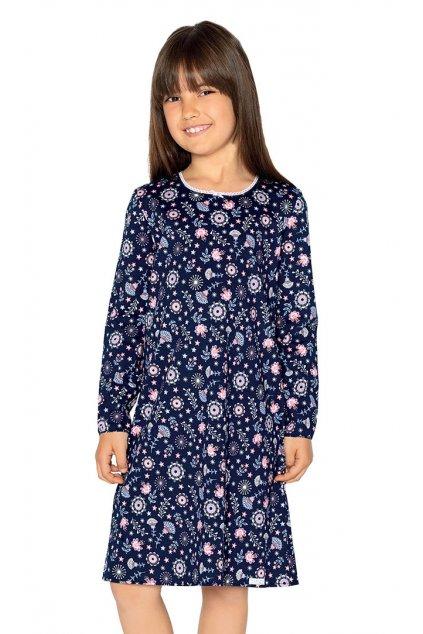 Dívčí noční košile s dlouhým rukávem, 404157 163, tmavě modrá