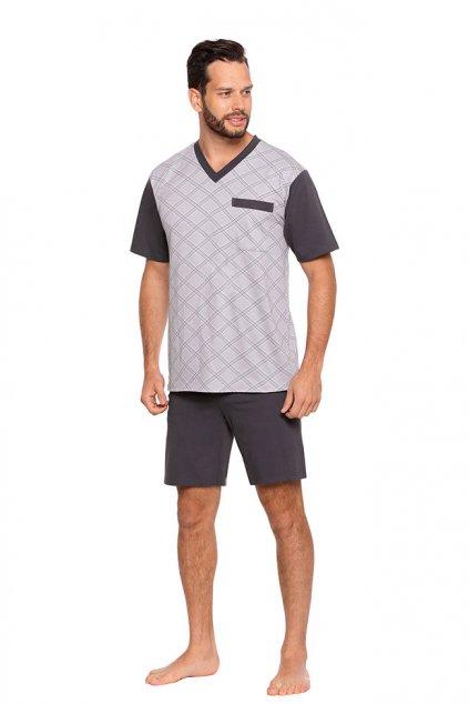 Pánské pyžamo s krátkým rukávem, 204ERNESTk 869, šedá