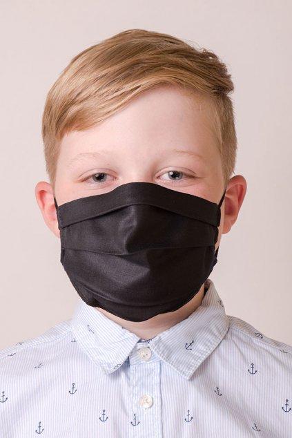 Dětská bavlněná rouška dvouvrstvá s kapsou a tvarovacím drátkem, antibakteriální SILVER+, 772-23, Černá