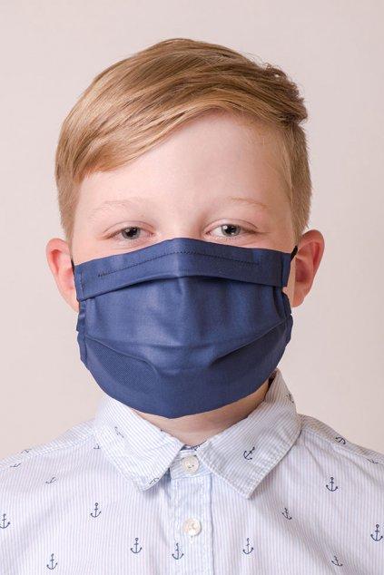 Dětská bavlněná rouška dvouvrstvá s kapsou a tvarovacím drátkem, antibakteriální SILVER+, 772-31, Modrá
