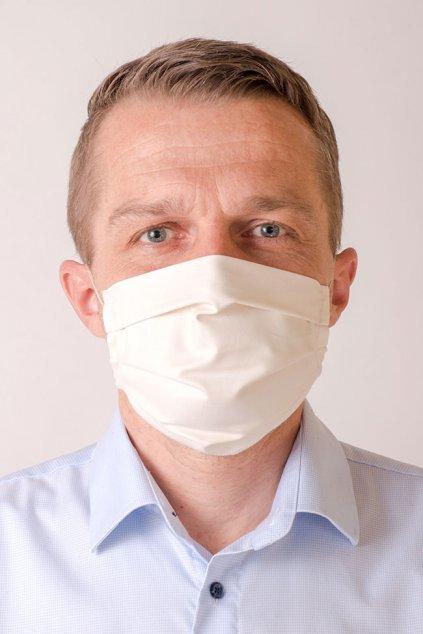 Pánská bavlněná rouška na ústa a nos dvouvrstvá, ouška z gumičky, antibakteriální SILVER+, 790-2, Smetanová